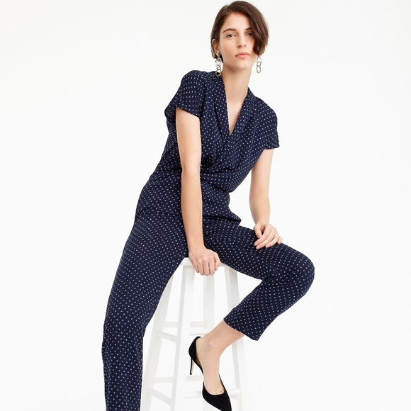 ac4a82cacfad NWT J. Crew Women s Pindot Jumpsuit with Lapel